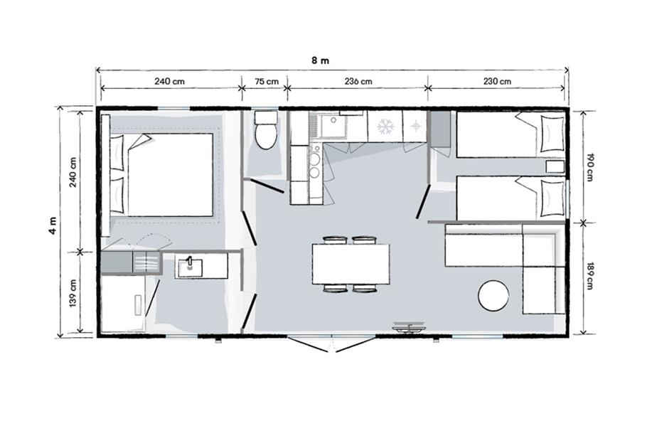 Plan mobil-home 2 chambres camping le Port Chéri PORNIC